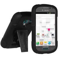AMZER BLACK DOUBLE LAYER RUBBER HYBRID CASE + STAND FOR GALAXY EXHIBIT SGH-T599N