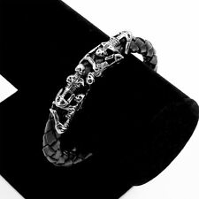 Persistent Skull Braided Black leather Bracelet Stainless steel Magnetic Clasp
