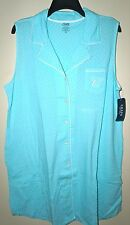 CHAPS Women's Sanibel Island AQUA Polka-Dot Notch Collar Sleep Shirt Size 1X NWT