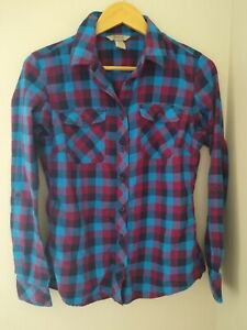Duluth Trading Company Crosscut Wicking Flannel Button Down Shirt Small Blue