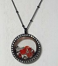 Large Floating Charm Locket Black + Ball Station Chain + Origami Owl Charms