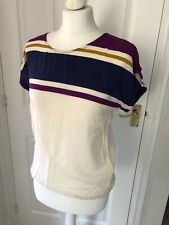 PULL & BEAR Top Blouse M fit UK 10 &12  T Shirt Short sleeves purple cream blue
