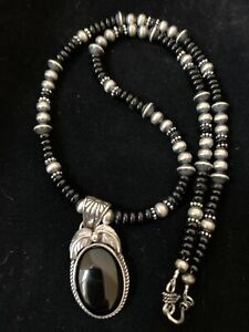NWOT Pendant Native Navajo Pearls Sterling Silver Black Onyx Bead Necklace 01524