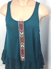 Womens Eyeshadows Tank Top Shirt Blouse Sleeveless Dark Teal Size Large  NEW