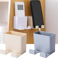 Wall Mounted Mobile Phone Holder Plug Remote Control Storage Box Organizer Hook