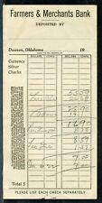 US FARMERS & MERCHANTS BANK, DAWSON, OKLAHOMA CANCELLED DEPOSIT SLIP EARLY 1900'