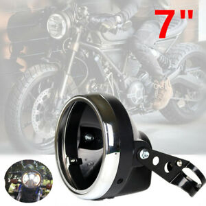 "7"" Motorcycle Bike Headlight Lamp Fairing Retro Racer Light Cover Housing Stents"