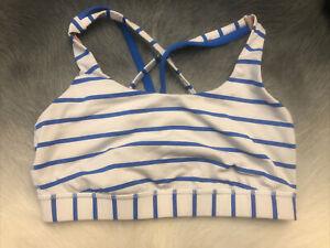 Lululemon Womens 6 Sports Bra White Blue Stripe Strappy Racerback Athletic Wear