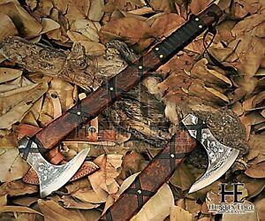 HUNTEX Handmade Carved 1095 Forged Carbon Steel Blade, 560mm Viking Godzilla Axe