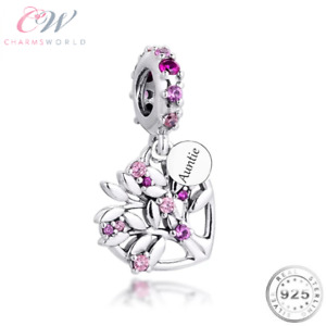Auntie Pink Family Tree Charm Genuine 925 Sterling Silver 💞 Aunt Birthday Gift