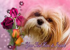 PERSONALISED SHIH TZU TERRIER DOG MOTHERS DAY BIRTHDAY ANY OCCASION CARD +Insert