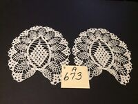 """10"""" X 8"""" Pair Of Vintage Arm Chair Doilies White Airy & Hand Crocheted Pretty"""