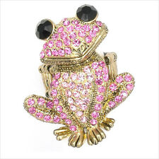 Smart Frog Froggy Animal Pet Finger Cocktail Rings Costume Jewelry Crystal Pink