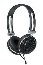 BLACK CRYSTAL DIAMANTE BLING RETRO HEADPHONES