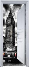 Sticker porte trompe l'oeil déco Londres Big Ben 90x200 cm réf 2117