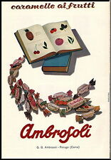 PUBBLICITA' 1956 CARAMELLE AMBROSOLI AI FRUTTI FRUTTA LIBRI RONAGO COMO FRUTTERO