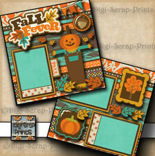 FALL FEVER ~ 2 premade scrapbooking pages paper piecing layout 4 album DIGISCRAP