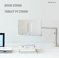Actto Book/Tablet Stand Adjustable Angle Easy to Install w/ Clamp White ABS