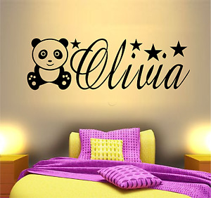 PERSONALISED NAME PANDA ANIMAL VINYL WALL ART STICKER GIRLS BEDROOM QUOTE