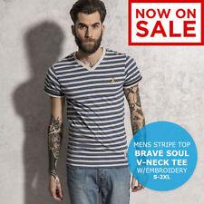 Cotton V Neck Striped Graphic T-Shirts for Men