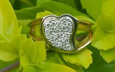Vintage 14k Yellow Gold Diamond Heart Band Ring/Gold Heart Ring/Solid Gold Ring