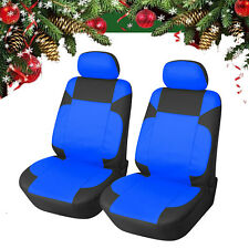 Car Seat Cover 2 Front PU Leather Compatible to Ford 853 Black/Blue