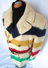 ✰SUPERB CLASSIC HUDSON BAY CO HBC 4 POINT WOOL Blanket COAT STRIPED Jacket PEA L