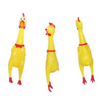 Squeeze Shrilling Screaming Rubber Chicken Pet Bite Toy Squeaker Chewing Toy .