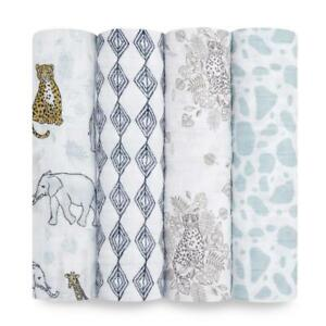 Aden and Anais Muslin Large Baby Swaddle Wraps 4 Pack - Jungle
