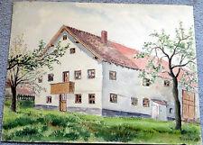"""Aquarell """"altes Bauernhaus"""" in Landshut-Achdorf-1955 signiert Roscher-Unikat !-"""