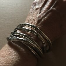 """Fabulous Articulated Bendable Silvered or Gun Metal Snake Bracelet/Necklace 35"""""""