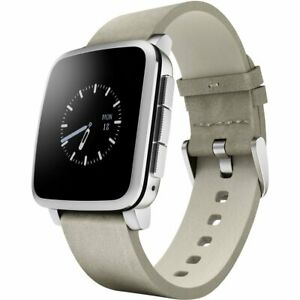 Pebble Time Steel Smart Watch - 38 mm Leather Band