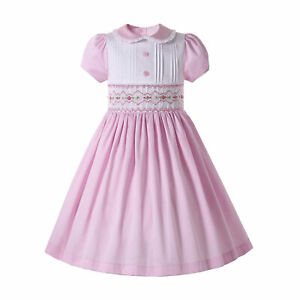 Smocked Vintage Girl Dress Pink Peter Pan Collar Short Sleeve Party Dresses US