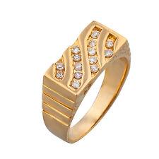 14K Yellow Gold Diamond Mens Pinky Ring  0.40ct  Size 9