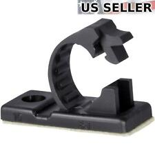 """25x Adhesive Cable Management Clips Fixed Clamp w/ Screw Mount Hole, Small 0.3"""""""