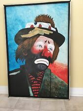 "L. Wolf Sad Clown Oil Painting 25"" x 37"""