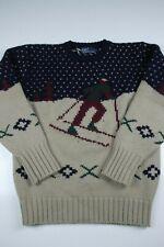 Vintage Polo Ralph Lauren Wool Ski Sweater Size M Crewneck Suicide Skier USA