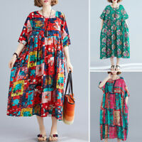 ZANZEA Womens Retro Short Sleeve Casual Loose Dress Floral Printed Baggy Dresses