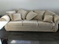 Linen Fabric 3 Seater Sofa Lounge Latte/cream (pillows Included)