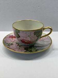 Antique B&C Limoges France Cup and Saucer Gold Trim Orchid Flowers Hand Painted