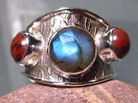 925 silver wide band triple labradorite & obsidian ring UK Q-Q¼/US 8.25