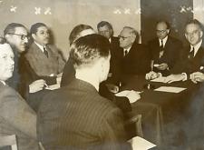 """Les """"Quatre"""" de l'ONU à Paris, novembre 1951 Vintage silver print,MM. Jes"""
