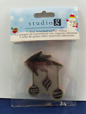 NEW STUDIO G CLING MOUNTED RUBBER STAMP TREE BRANCH W 3 ORNAMENTS  IC0119 102