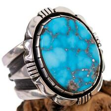 Native American Turquoise Ring Sterling Silver Natural COOPER WILLIE  10.5 MENS