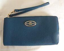 NWT Coach 53413 L-ZIP wallet In Refined Grain Leather Light Gold Denim Blue