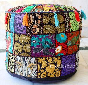 Indian Handmade Bohemian Black Pouf Cover Ottoman Stool Floor Chair Pouffe Cover