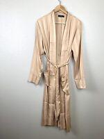 OnTwelfth Womens Small S Satin Stripe Duster Cardigan Robe Tan Beige