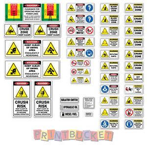 Mini Excavator Under 10 Tonne risk assessment safety stickers kit 42 pieces