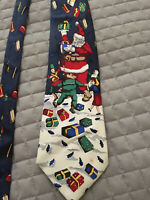 "Santas Dream Christmas Holiday Tie Necktie Presents Toys Silk Hand Sewn 4""x 59"""