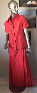 Maikleid Ballkleid Abendkleid Seide Rot Kostüm Gr. 40 Jean Louis Scherrer